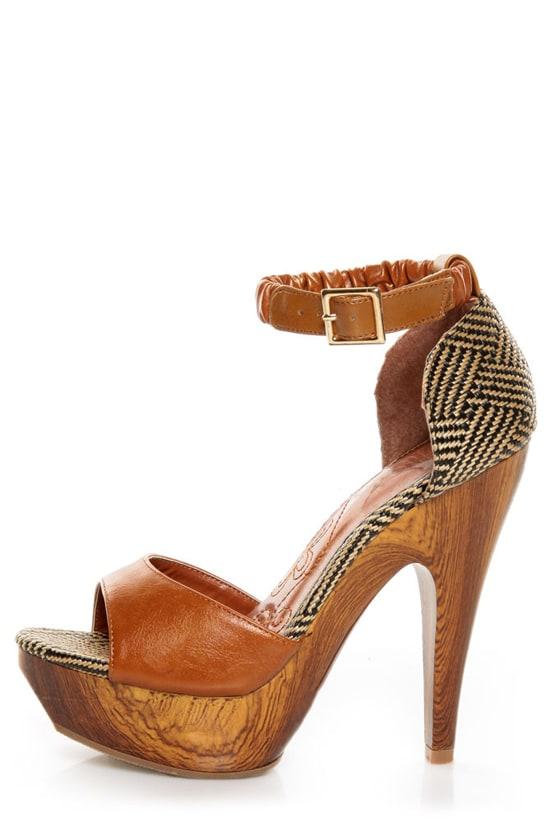 8ba929bb77ab Mona Mia Trinidad Tan Woven Platform Heels -  46.00