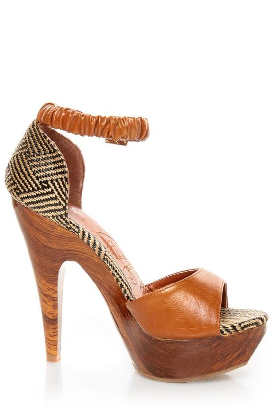 Mona Mia Trinidad Tan Woven Platform Heels at Lulus.com!
