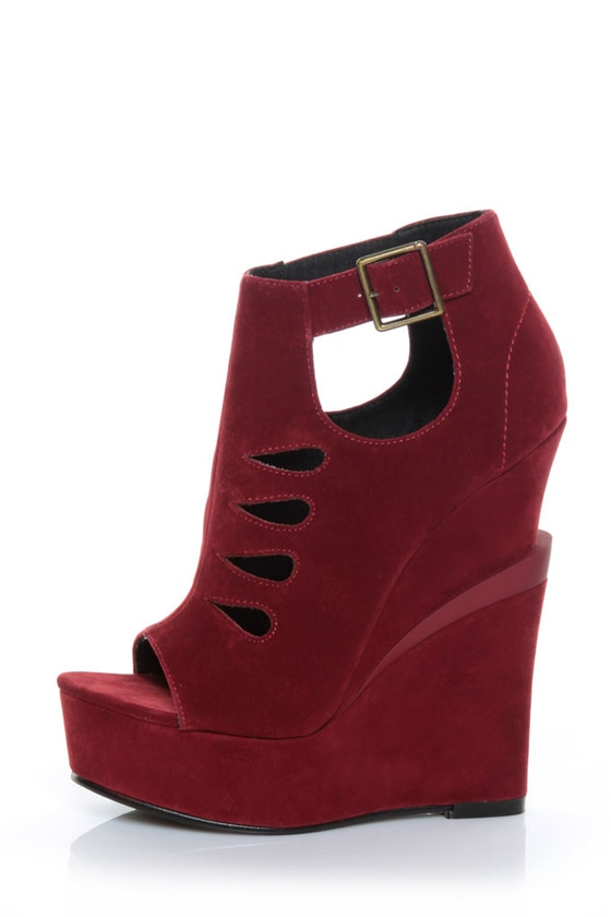 Michael Antonio Garcelle Wine Red Velvet Cutout Platform Wedges