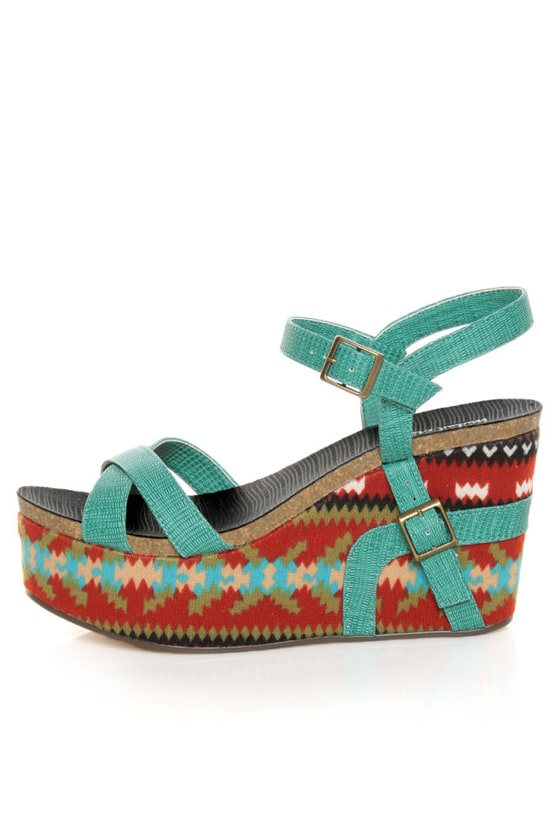 Michael Antonio Genoa Green Southwest Print Platform Sandals at Lulus.com!