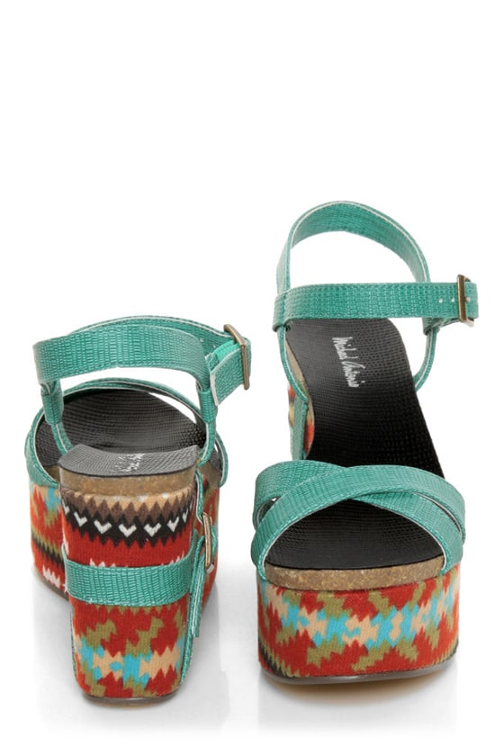 Michael Antonio Genoa Green Southwest Print Platform Sandals