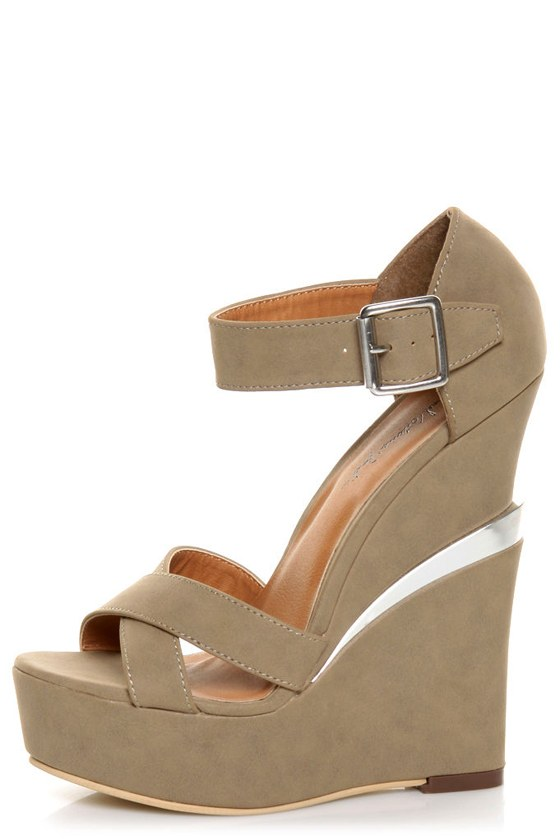 Michael Antonio Studio George Taupe Platform Wedges