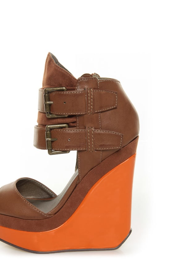 Michael Antonio Guava Cognac Belted Ankle Cuff Wedges