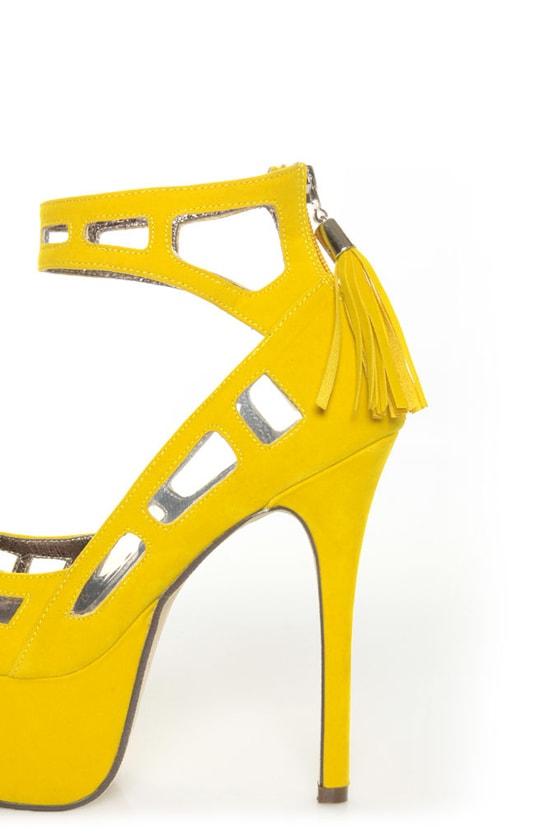 Michael Antonio Studio Lavonne Yellow Velvet Cutout Pumps at Lulus.com!