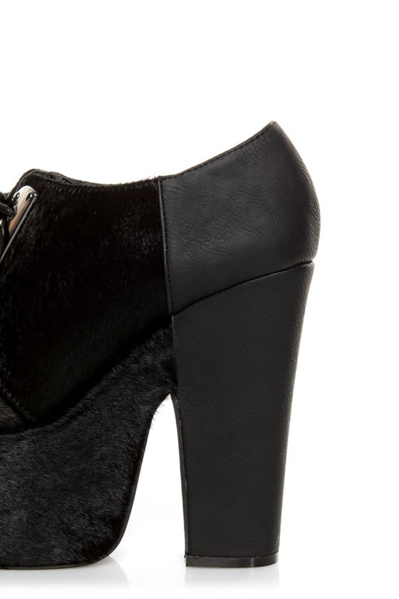 Michael Antonio Studio Medford Black Pony Fur Lace-Up Platforms at Lulus.com!