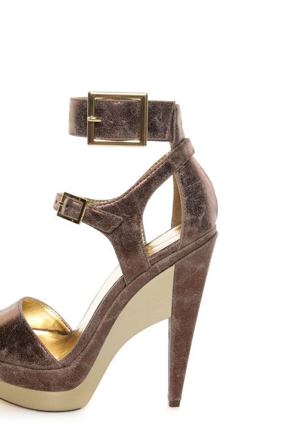 Michael Antonio Tarain Bronze Metallic Double Platform Heels