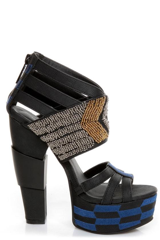 Michael Antonio Studio Taraji Black Beaded Platform Heels