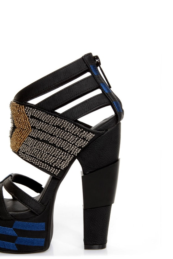 Michael Antonio Studio Taraji Black Beaded Platform Heels
