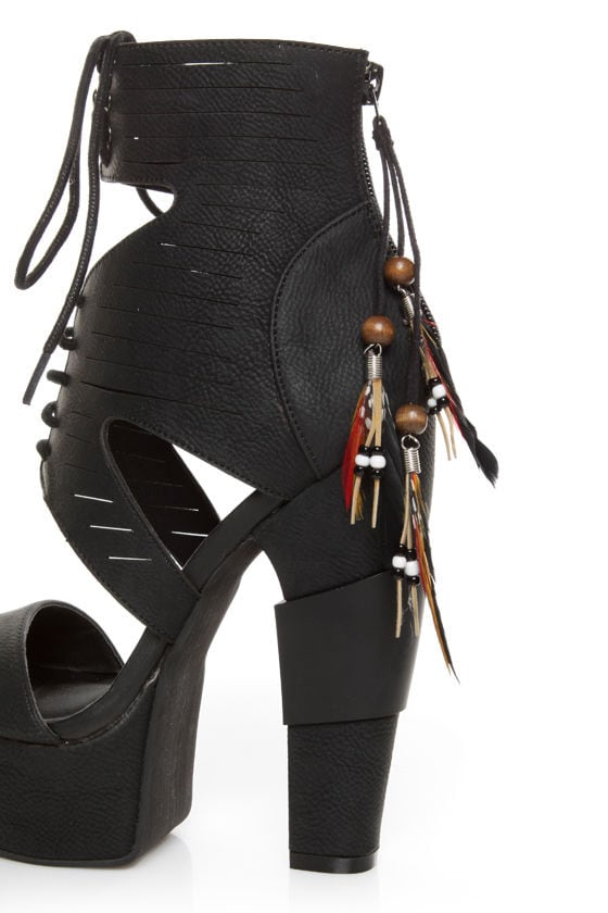Michael Antonio Studio Thayer Black Tail Feather Lace-Up Heels
