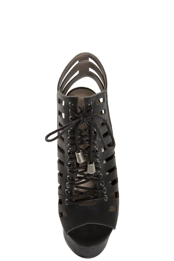 Michael Antonio Tiber Black Cutout Lace-Up Platform Booties