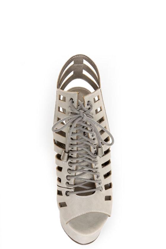 Michael Antonio Tiber Light Grey Cutout Lace-Up Platform Booties at Lulus.com!