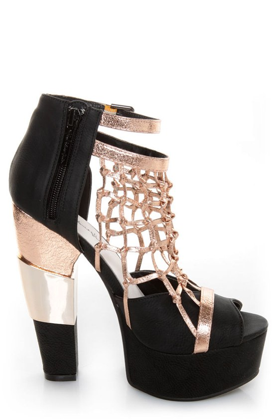 Michael Antonio Studio Townsend Black Metallic Cage Heels at Lulus.com!