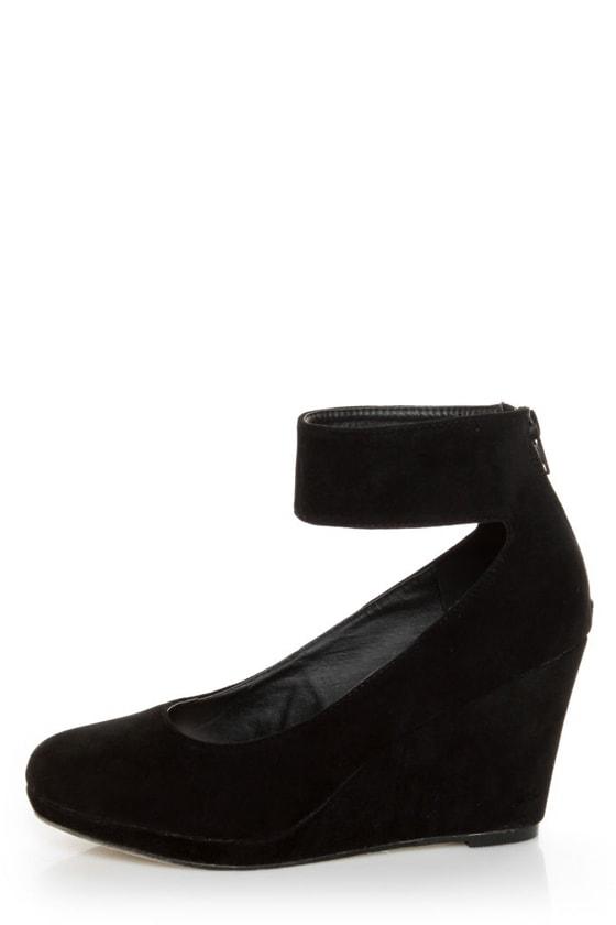 Mixx Shuz Agnes Black Suede Anklewrap Wedges at Lulus.com!