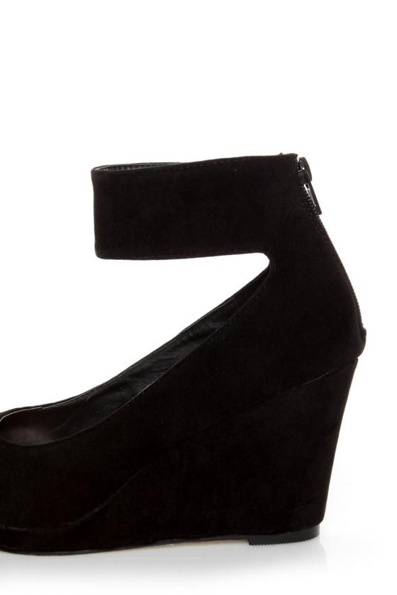 Mixx Agnes Black Suede Anklewrap Wedges
