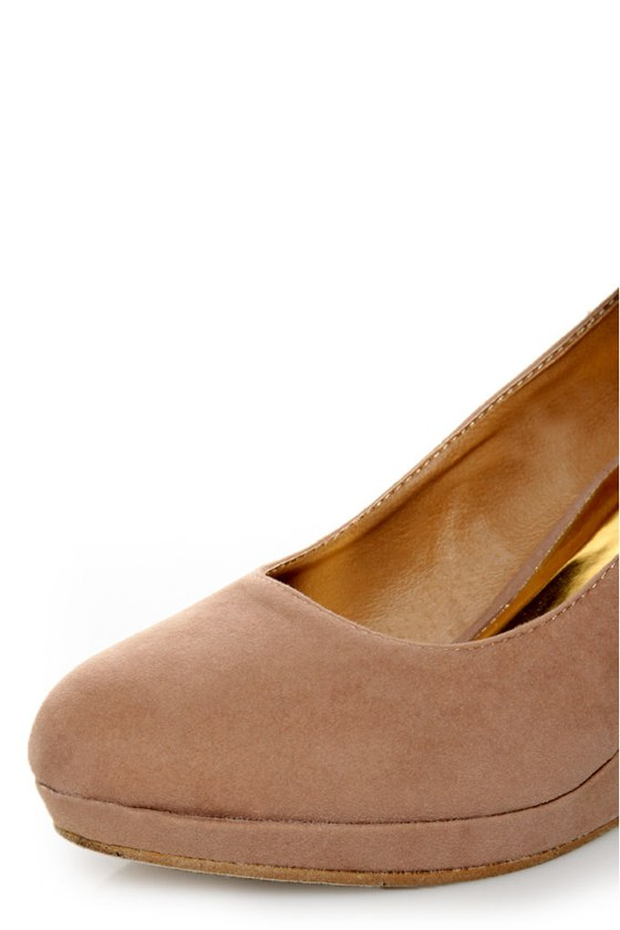Mixx Shuz Agnes Sand Suede Anklewrap Wedges at Lulus.com!