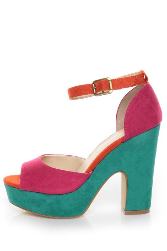 Mixx Kay 07 Fuchsia Micro Fiber Color Block Platform Heels