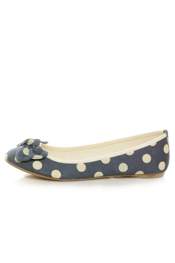 Mixx Penny 10 Blue Polka Dot Bow Ballet Flats