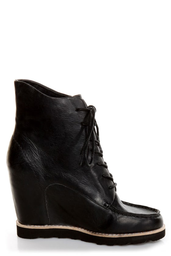 Matiko Cooper Black Leather Lace-Up Wedge Sneakers