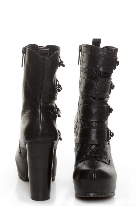 Matiko Emery Black High Tech Platform Combat Boots
