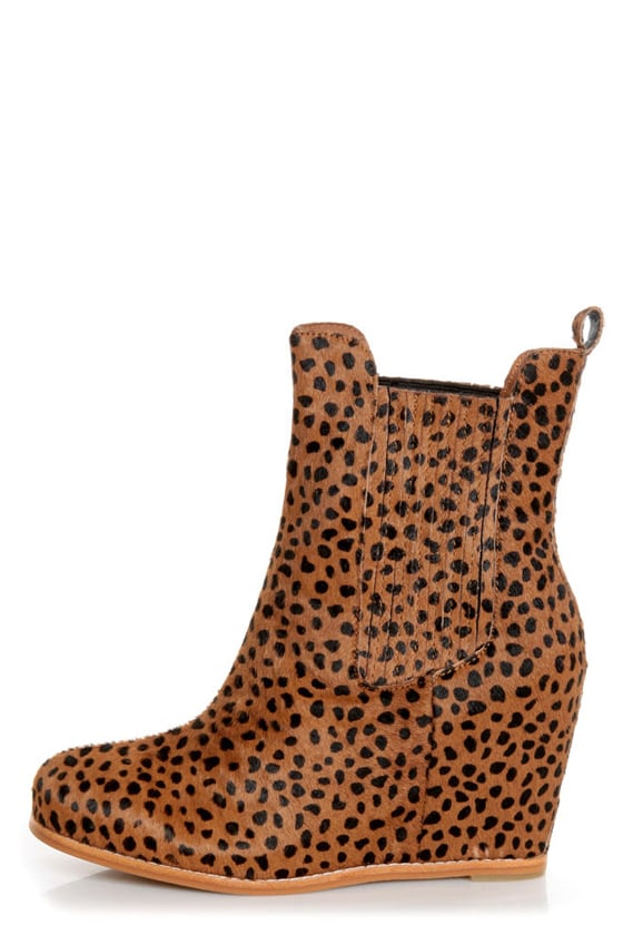 Matiko Kain Cheetah Print Pony Fur Hidden Wedge Chelsea Boots