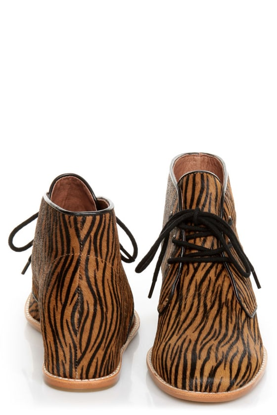 Matiko Sharon Zebra Pony Fur Lace-Up Wedge Sneakers