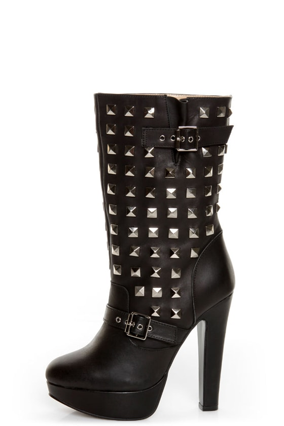 Apollo Black Belted and Studded Platform Boots