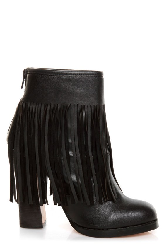 N.Y.L.A. Gravano Black Leather Fringe Booties