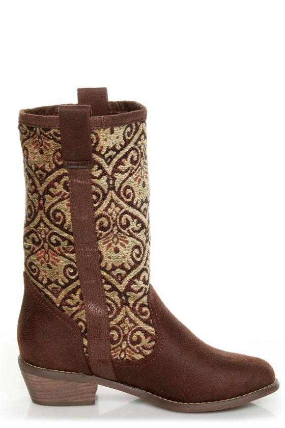 N.Y.L.A. Kylah Brown Tapestry Mid Calf Boots