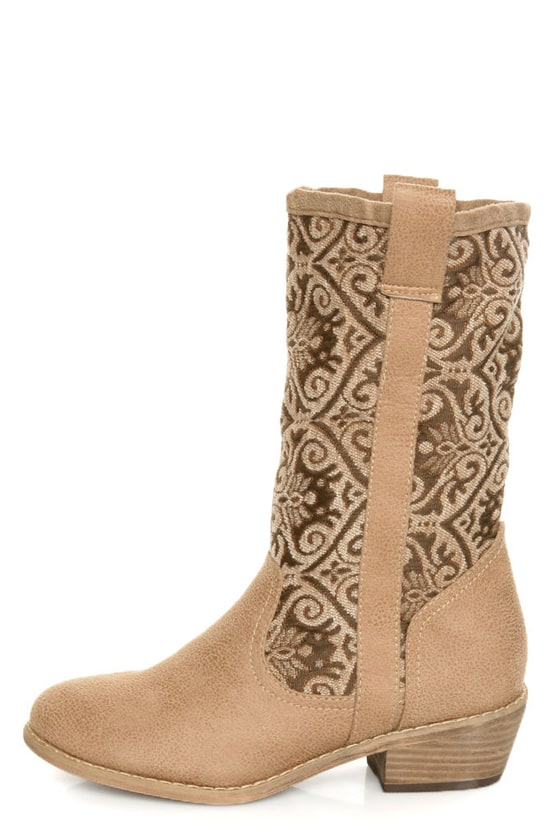N.Y.L.A. Kylah Taupe Tapestry Mid Calf Boots at Lulus.com!
