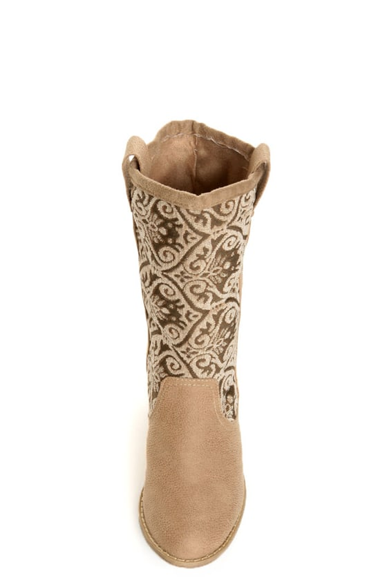 N.Y.L.A. Kylah Taupe Tapestry Mid Calf Boots