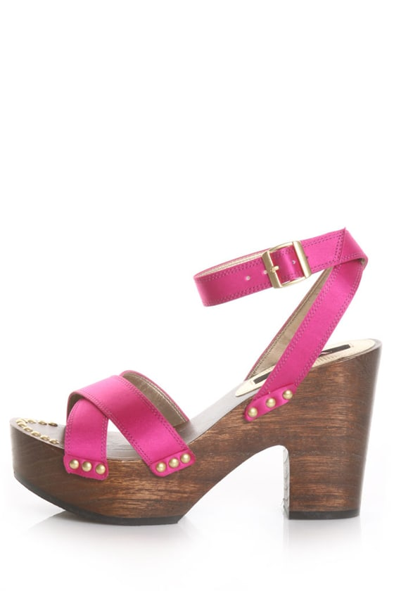 Nina Sheona Capri Fuchsia Luster Satin Studded Chunky Heels