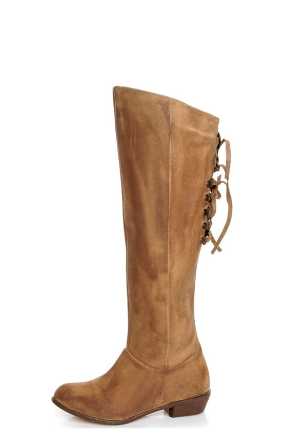 Naughty Monkey Bullet Beige Leather Laced Back Riding Boots