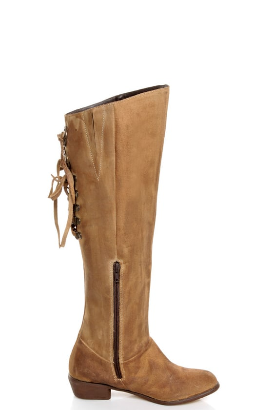 Naughty Monkey Bullet Beige Leather Laced Back Riding Boots at Lulus.com!