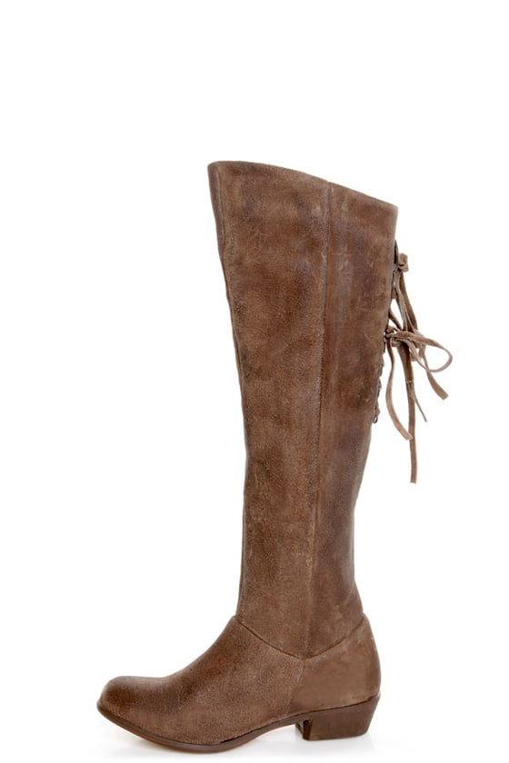 Naughty Monkey Bullet Brown Leather Laced Back Riding Boots at Lulus.com!