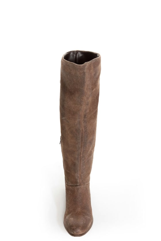 Naughty Monkey Bullet Brown Leather Laced Back Riding Boots