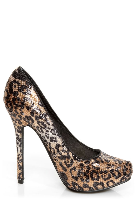 Naughty Monkey Glistening Tan Leopard Print Sequin High Heels