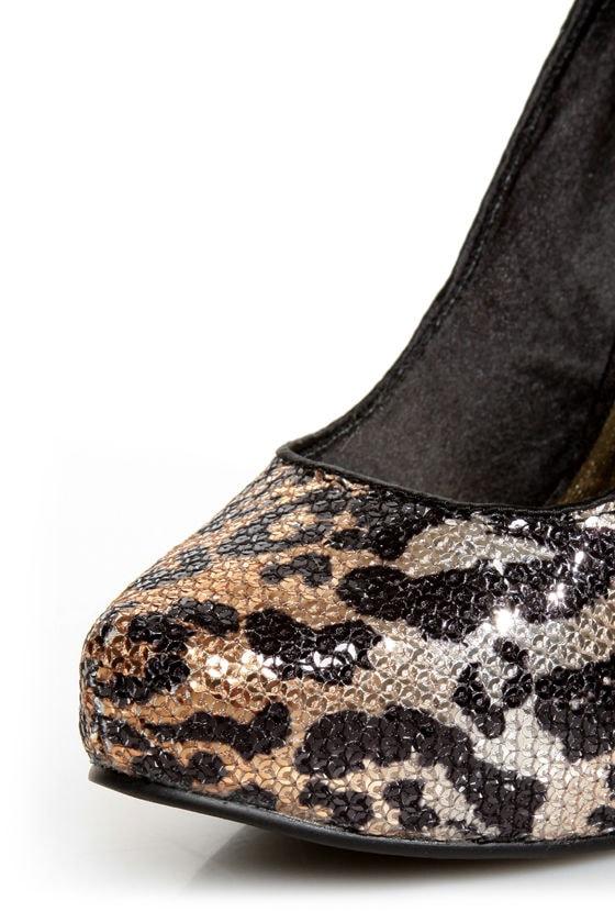 Naughty Monkey Glistening Tan Leopard Print Sequin High Heels