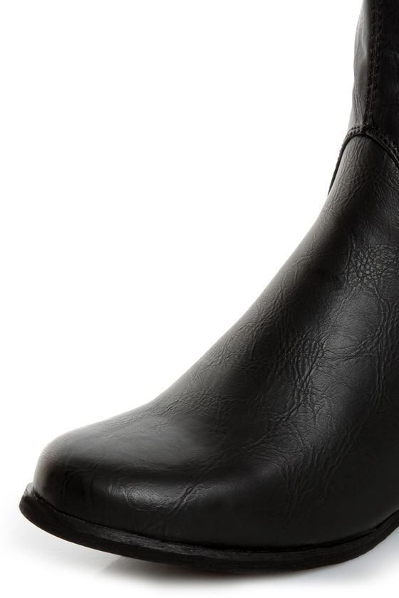 Not Rated Battlefront Black Snap Button-Studded OTK Riding Boots
