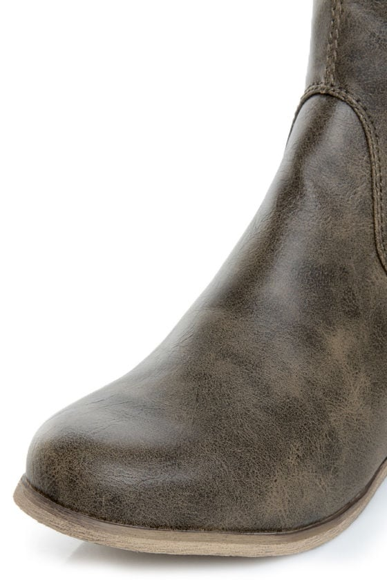 Not Rated Battlefront Khaki Snap Button-Studded OTK Riding Boots