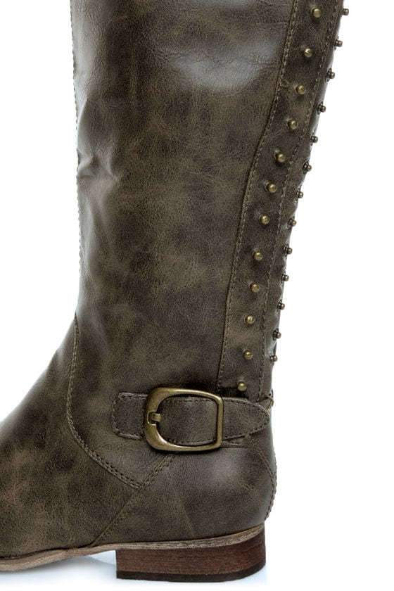 Not Rated Battlefront Khaki Snap Button-Studded OTK Riding Boots at Lulus.com!