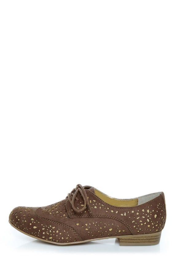 Not Rated Fascination Taupe and Gold Eyelet Oxfords