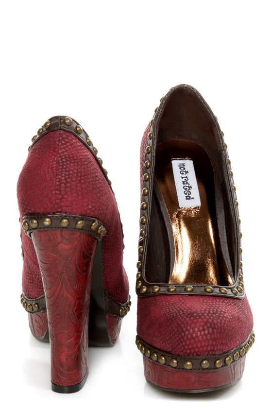 Not Rated Georgia Red Textured and Studded Platform Heels