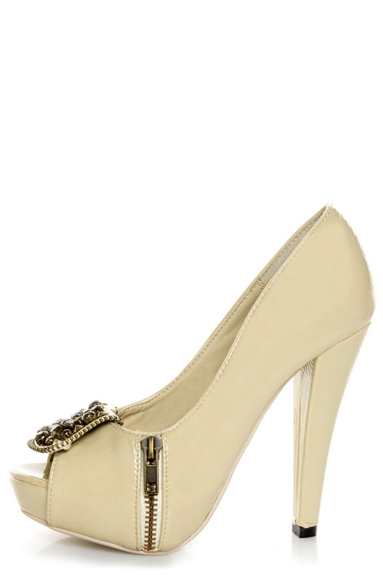 Not Rated Happy Beat Nude Zipper Bib Studded Pumps at Lulus.com!