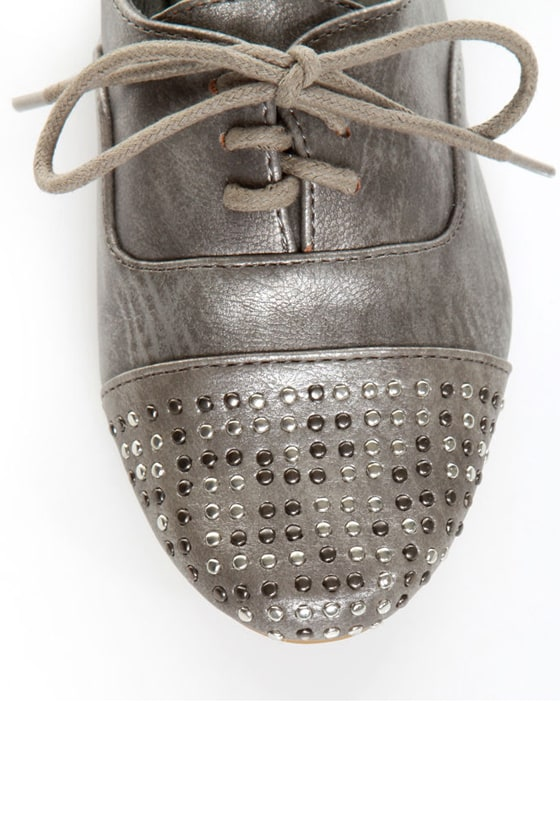 Not Rated Hot Stepper Pewter Studded Cap-Toe Oxfords at Lulus.com!