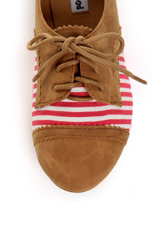 Not Rated How I Wonder Tan, Red & White Striped Oxfords