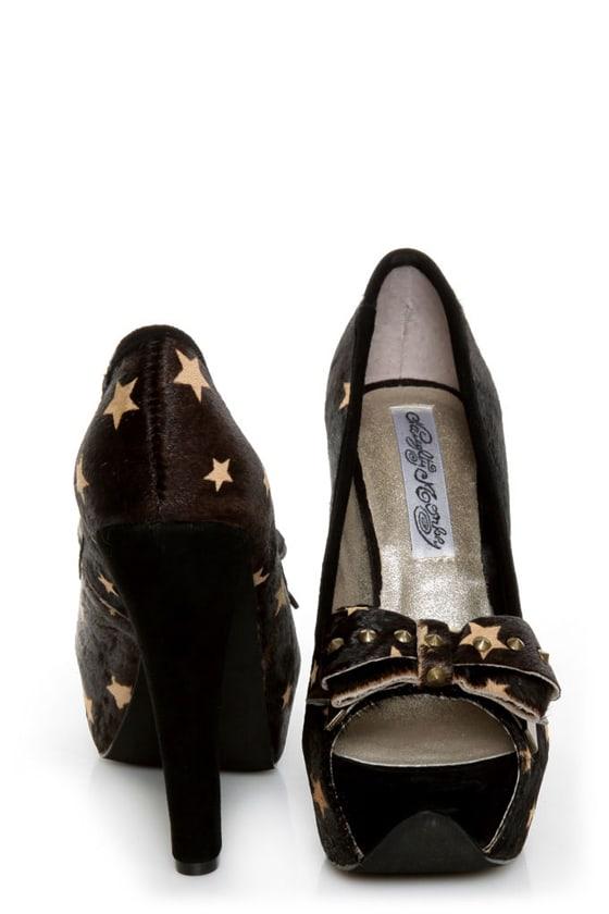 Naughty Monkey Isla Bonita Black Star Pony Fur Platform Heels at Lulus.com!