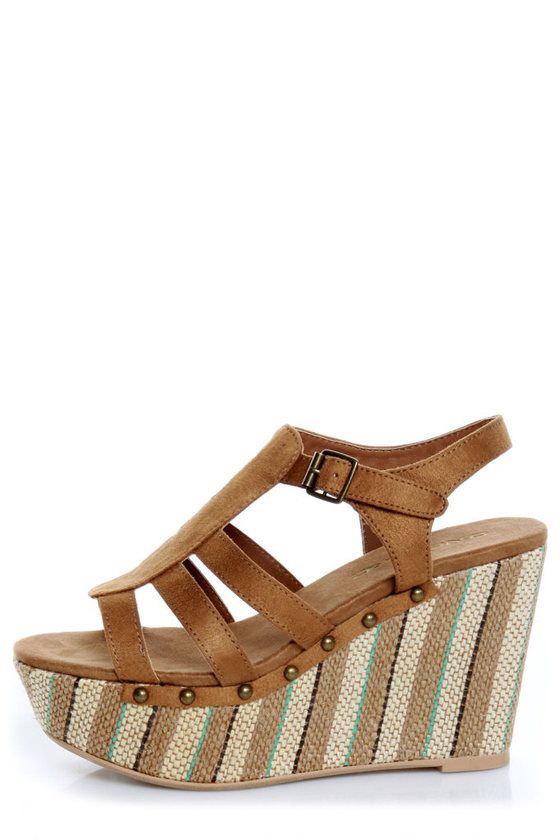 O'Neill Sequoia Cognac Striped Platform Wedge Sandals
