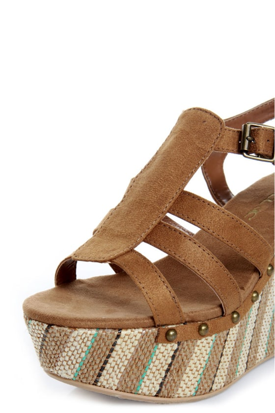 O'Neill Sequoia Cognac Striped Platform Wedge Sandals at Lulus.com!