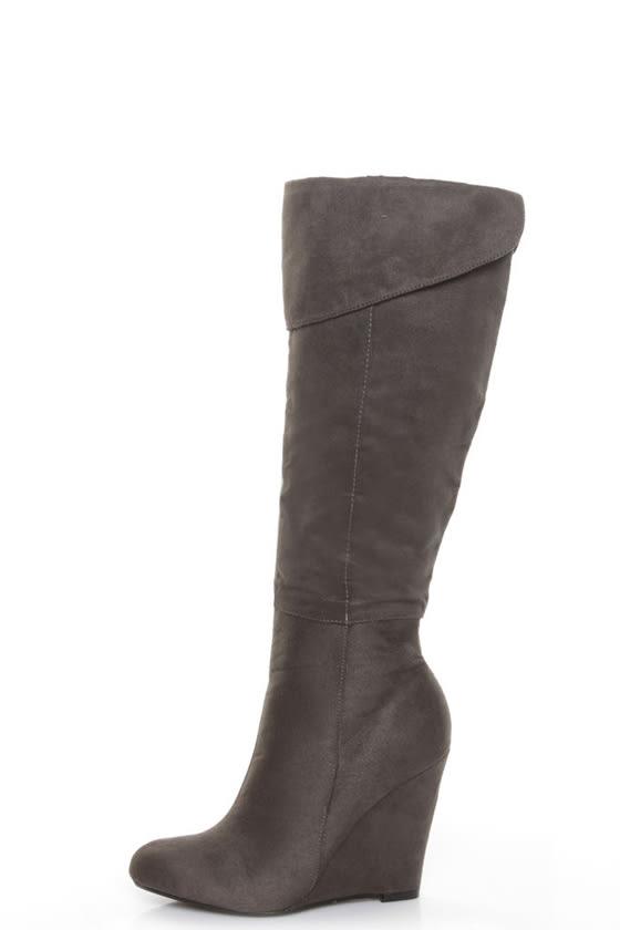 paprika fano grey otk or cuffed wedge boots 38 00