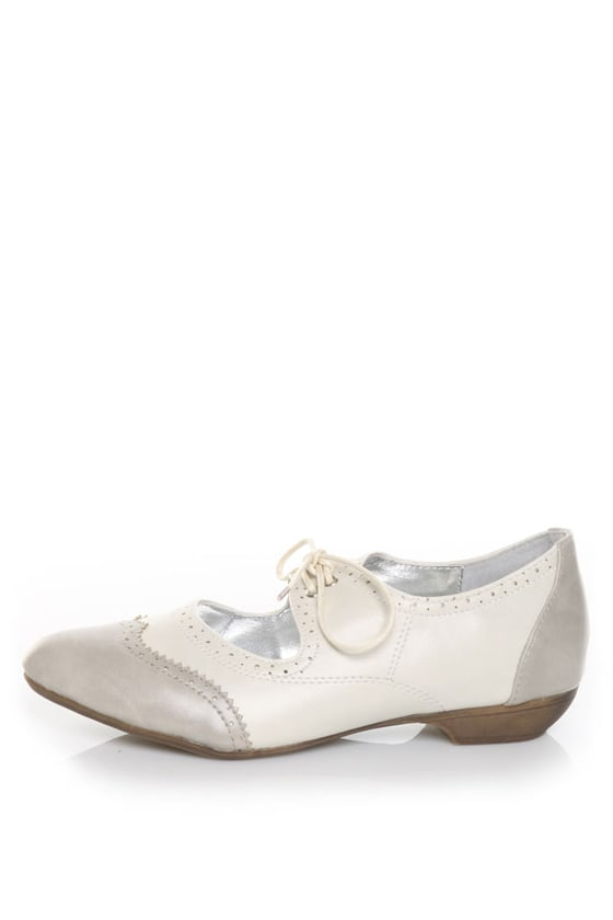 Pink Duchess Bristel 1 Grey & Beige Lil' Miss Oxford Flats
